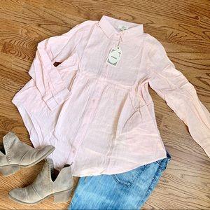 Pink Linen Babydoll Tunic